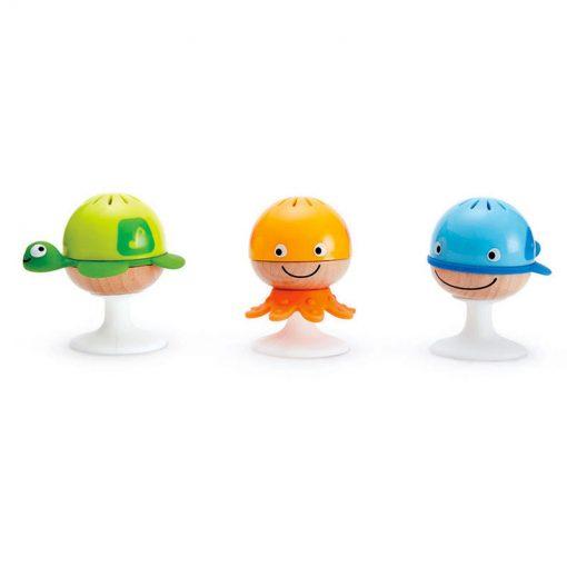 3 sonajeros de diferentes sonidos y colores con plataforma adhesiva